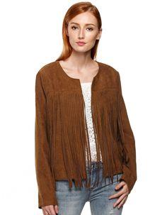 Finejo Women Fashion Casual Round Neck Long Sleeve Solid Fringe Jacket Coat $ 8.90