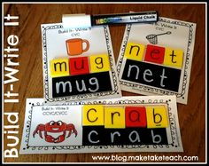 FREE CVC and CCVC cards for making your own Build-It Write-It cards.  Perfect for #literacy centers or small group instruction.