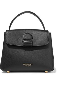 Burberry - Textured-leather And Checked Canvas Shoulder Bag - Black - one size