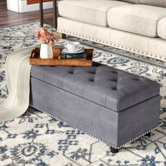 Alcott Hill Luper Tufted Rectangle with Storage Ottoman Living Room Storage, Living Room Furniture, Storage Spaces, Living Room Ottoman Ideas, Country Furniture, Diy Storage, Storage Ideas, Square Storage Ottoman, Tufted Storage Ottoman