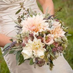 Textural wedding bouquet with dahlias and roses by Genevieve Leiper Photography