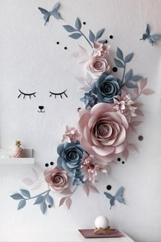 Wall Decor Paper Flowers – Paper Flowers Wall Decor – Sleepy Eyes Nursery Decor – Slate Blue Paper Flowers – Nude Paper Flowers Manualidades - The world's most private search engine Paper Flower Decor, Large Paper Flowers, Paper Flower Backdrop, Flower Wall Decor, Diy Flowers, Flower Decorations, Origami Flowers, Paper Flowers On Wall, Paper Wall Decor