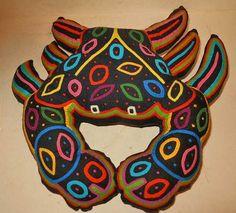 MOLA Vintage Kuna Big Crab Pillow Cut Out Folk Art Handmade Patchwork Decor Fish