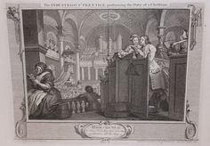 Original 1747 William Hogarth INDUSTRY and IDLENESS Plate 2 Engraving