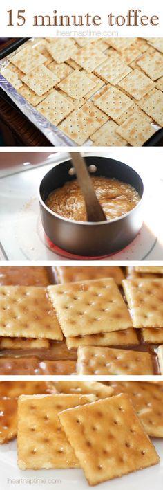 3 ingredient cracker toffee!!