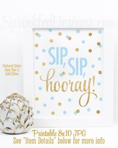 Sip Sip Hooray - Sip n See Party Sign, Baby Blue Gold Glitter Printable 8x10, Boy Baby Shower Decorations, Monograms & Mimosas Party Decor by SprinkledDesign on Etsy