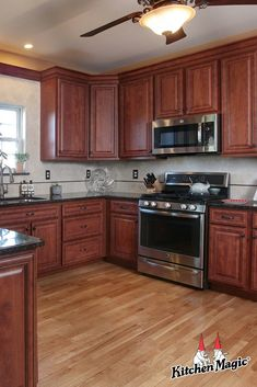 These Classic Cherry cabinets with black glaze coordinate perfectly with the dar… – Gray Espresso Kitchen Cabinets Cherry Wood Kitchens, Cherry Wood Cabinets, Espresso Kitchen Cabinets, Cherry Kitchen, Brown Cabinets, Brown Kitchens, Custom Kitchen Cabinets, Home Kitchens, Cream Cabinets