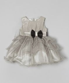This Silver Ruffle & Bow A-Line Dress - Infant by Kids World of USA is perfect! #zulilyfinds