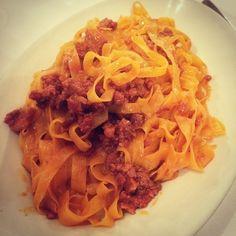 Tagliatelle al ragu! The real spaghetti bolognese... - Instagram by willrunforfoodtv