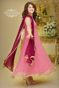 Powder Pink Gota Patti Double Layer Dress with Mukaish Dupatta Pakistani Fashion Party Wear, Pakistani Wedding Outfits, Pakistani Bridal Dresses, Pakistani Dress Design, Bridal Outfits, Party Outfits, Shadi Dresses, Pakistani Formal Dresses, Indian Gowns Dresses