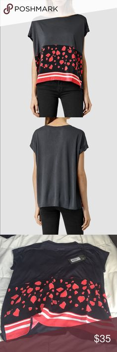 NWT all saints Loose light weight t shirt. Super soft w silk panel. Never worn NWT. All saints All Saints Tops Tees - Short Sleeve
