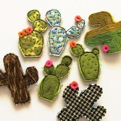 Floral cactus brooch by alittlevintagestore on Etsy