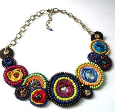 These colors are just stunning! Beautiful Beadwork Bib Statement Necklace, starting at $5. - xoxo, Matilda