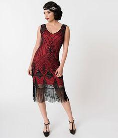2df777873a1 Red   Black Sequin Lina Fringe Flapper Dress