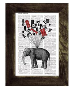Elephant book print  Elephant with Alphabet collage by PRRINT, $6.99