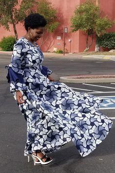 Kuwaha African Print Ruffle Sleeve Flared Maxi Dress; Blue, White & Grey | Ankara dress | African fashion