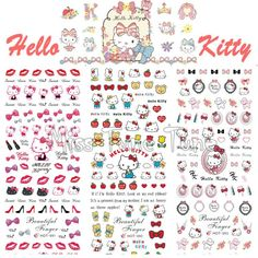 [Visit to Buy] 3 Sheets IN 1 Hot Sale Nail Stickers Water Transfer Decals Manicure Watermark Stickers HOT91-93 Hello Kitty Cat Kitten Cartoon #Advertisement