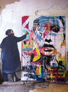 Basquiat in his studio.