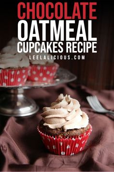 These fluffy and moist Chocolate Oatmeal Cupcakes are made with oats and topped with a light and airy chocolate whipped cream frosting. Oatmeal Cupcakes, Chocolate Oatmeal Cookies, Oatmeal Cake, Oatmeal Cookie Recipes, Fun Cupcakes, Chocolate Fudge, Chocolate Cupcakes, Chocolate Whipped Cream Frosting, Homemade Truffles