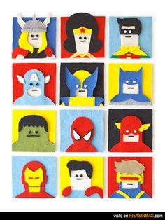 Superhéroes de fieltro.