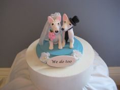 Bodacious Bull Terriers Wedding Cake Topper Bully by PawsnClaws