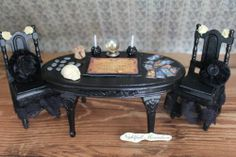 Dollhouse Miniature Gothic Spooky Seance Table and Chairs By Nightfall
