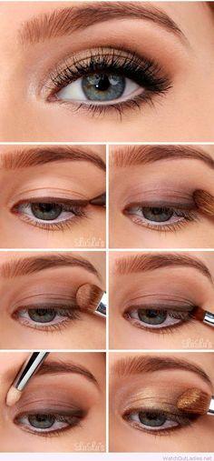 Golden smokey eye makeup tutorial step by step