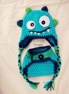 FREE SHIPPING-Monster hat-Crochet baby hat-Hat and diaper cover set-Photography prop-boys or girls. $35.00, via Etsy.