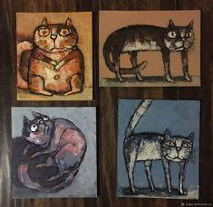 Миниатюрные картинки маслом «котята» – купить на Ярмарке Мастеров – HARM5RU   Картины, Архангельск Cat Art, Cats, Painting, Gatos, Painting Art, Paintings, Cat, Kitty, Painted Canvas