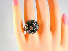 Millefiori Ring, Murano Glas Ring, Vintage Ring, Blumen Ring, Ring Cabochon, Solitär Ring, Ring rund, Ring Schwarz, Trend Ring, Geschenk von RSSchmuckwelt auf Etsy