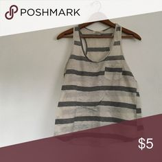 Tank top Grey and white lace striped tank top forever 21 brand size small 22 inches long bust is 34 inches Forever 21 Tops Tank Tops