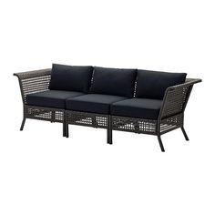 KUNGSHOLMEN / KUNGSÖ 3:n istuttava sohva ulkokäyttöön - mustanruskea - IKEA
