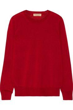Burberry - Flannel-trimmed Merino Wool Sweater - Brick - x small