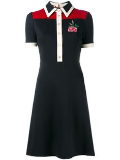 GUCCI rose embroidered polo dress. #gucci #cloth #dress