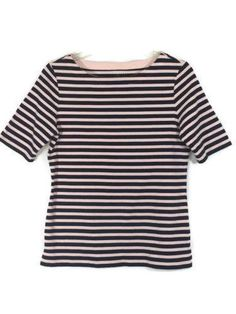 TALBOTS SIZE S SMALL Stretch Short Sleeve Striped Tee Navy Pink Womens Top Shirt #Talbots #Tee #Casual