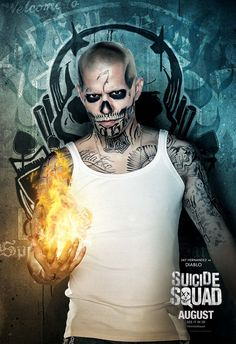 Jay Hernandez as El Diablo in the official character poster for Suicide Squad Jay Hernandez, Deadshot, Jared Leto, Suiced Squad, Film Dc, Superhero Movies, New Poster, Joker And Harley Quinn, Marvel Dc