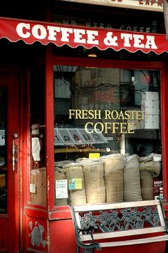 Red Coffee and Tea Shop New York City - The aroma of coffee beans being roasted then ground, I'll have a cup! Childhood memories of summe - I Love Coffee, Coffee Break, My Coffee, Morning Coffee, Kona Coffee, Cafe Bar, Cafe Shop, Latte Art, Café Chocolate