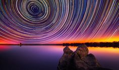 Lincoln Harrison's long-exposure photographs of star trails in the Australian night sky.