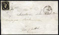 Sardinia 1851, 5 Cent. nero isolato su lettera da Torino 22.4.1852 per cittá, molto fresco, firmato Em. + A. + E. Diena, Raybaudi e Fiecchi (Sass. 1)    Dealer  Viennafil Auctions    Auction  Minimum Bid:  3500.00EUR