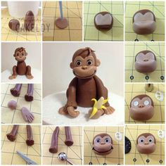 polymer clay monkey diy. I mostly pinned this because I think it could be easily altered for modeling chocolate or fondant for a curious george b-day cake topper.