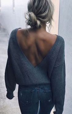 Trendy Fall Outfits To Copy ASAP girls's grey knit sweater and grey denim fitted denims Fashion Look Fashion, Winter Fashion, Fashion Outfits, Fashion Women, Fashion Online, Fashion 2018, Fashion Styles, Woman Outfits, Fashion Spring