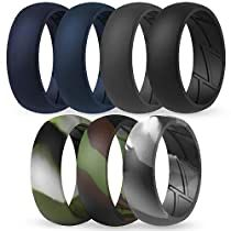 ThunderFit Silicone Wedding Rings for Men Breathable Airflow Inner Grooves 8.5mm wide 2.5mm Thick 7 Rings // 4 Rings // 1 Ring Breathable Edition Rubber Engagement Bands