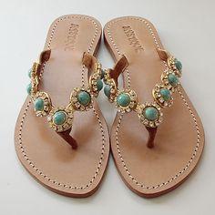 Mystique Cabochons Gold Turquoise- Sandal World