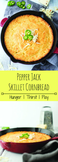 Easy Pepper Jack Skillet Cornbread : Tender, buttery cornbread with perfectly crispy edges and just the right amount of kick. Dress up your usual cornbread recipe with this easy, no fuss Pepper Jack Skillet Cornbread. Skillet Cornbread, Sweet Cornbread, Cornbread Recipes, Buttery Cornbread Recipe, Cookout Side Dishes, Barbecue Side Dishes, Cast Iron Recipes, Cast Iron Cooking, Summer Recipes