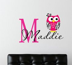Childrens Decor Zebra Owl Wall Decal with Name -  Baby Nursery Wall Art -Girls Teen Bedroom - Childrens Wall Decals - Zebra Jungle Decals. $27.00, via Etsy.