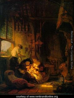 Holy Family 1640 - Rembrandt Van Rijn - Rembrandt paintings, plastic arts, visual arts, art, baroque