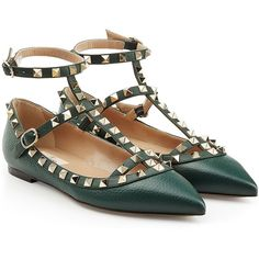 Valentino Leather Rockstud Ballerinas (£540) ❤ liked on Polyvore featuring shoes, flats, green, pointed leather flats, green flat shoes, green shoes, pointy-toe flats and leather shoes
