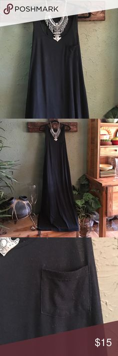 """Sleeveless black maxi dress Black scoop neck and sleeveless maxi dress with small pocket.  62% polyester 33% rayon and 5% spandex.  Size is large but I feel this would better fit a small or medium.  Length is 56"""" measured from shoulder to bottom. Poof Dresses Maxi"""