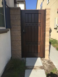 Custom Wood Gate by Garden Passages - Straight Top Gate with Double Crossbars and Combination Lock