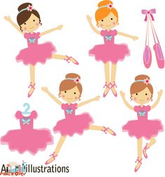 Pink little ballerina dancing  tutu graphics clipart por aifactory, $6.00